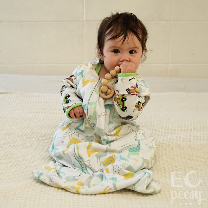 Baby Wearing Sleep Gown and Sack for Nighttime Elimination Communication