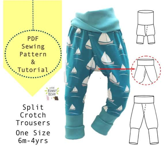 Little Bunny Bear PDF Sewing Pattern One Size Split Pants