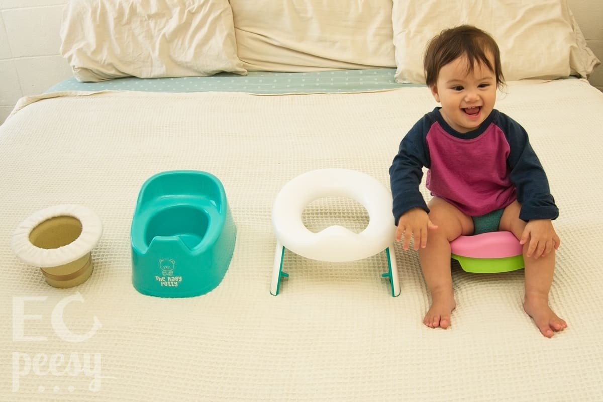 Baby Sitting on the Potette Plus 2-in-1 Travel Potty with Reusable Liner