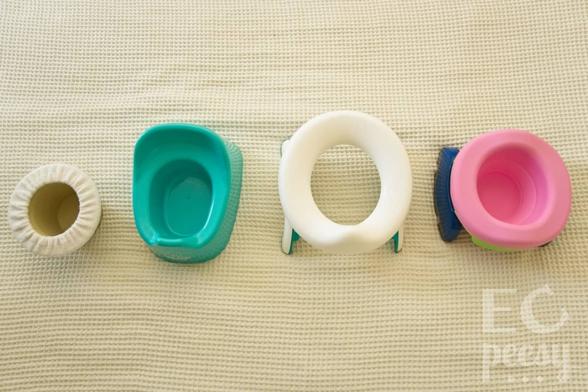 Top View Comparing Small Potties: Top Hat, Mini, OXO Tot Travel, Potette Plus