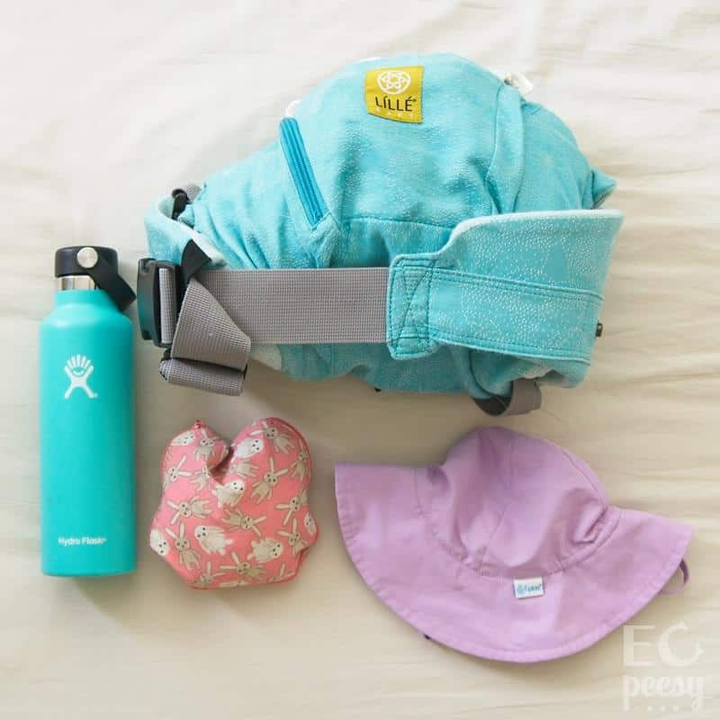 Baby Carrier, Water Bottle, Baby Sun Hat